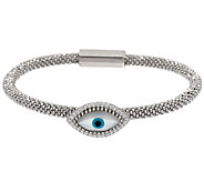 Vicenza Silver Sterling Mother-of-Pearl Evil Eye Bracelet - J320407