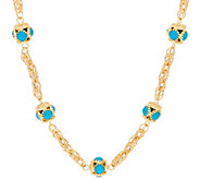 Arte d Oro 24 Turquoise Station Woven Chain Necklace 18K, 24.5g - J321007