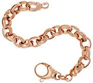 As Is Bronze Ribbed Oval Rolo Link Bracelet by Bronzo Italia - J327607