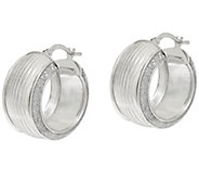 As is Vicenza Silver Sterling 3/4 Ribbed Pave Glitter Hoop Earrings - J327707