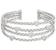 Judith Ripka Sterling Large Verona Heart Multi-row Cuff Bracelet 27.3g - J329807