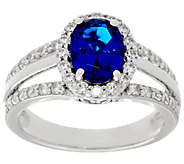 Diamonique Simulated Gemstone Oval Ring, Sterling or 14K Clad - J330107
