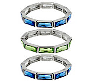 Isaac Mizrahi Live! Set of 3 Crystal Stretch Bracelets - J334007
