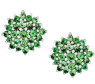 Sterling Tsavorite Cluster Stud Earrings