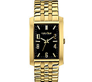 Caravelle New York Mens Goldtone Black Face Watch - J336807
