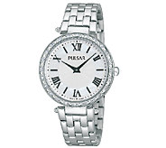 Pulsar Womens Stainless Steel Crystal-AccentedWatch - J337607