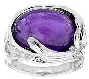 Hagit Sterling Silver Amethyst Cabochon Ring - J339207
