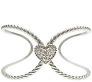 Judith Ripka Sterling Diamonique Heart Open Cuf f - J340507