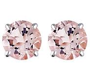 0.95 cttw Morganite Stud Earrings, 14K White Gold - J344007