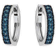 Blue Diamond Hoop Earrings, Sterling, 1/7 cttw,by Affinity - J344107