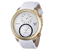 V19.69 Italia Mens Dual-Time Goldtone Watch with White Dial - J344507
