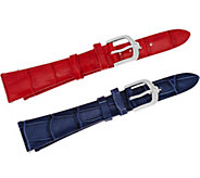 Judith Ripka Stainless Steel Silvertone Leather Watch Straps - J346507
