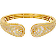 Judith Ripka Sterling Silver or 14K Clad Pave Diamonique Cuff Bracelet - J348007