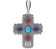 Multi Gemstone Sterling Silver Concha Cross Enhancer by American West - J349107