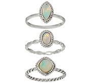 As Is Ethiopian Opal Sterling Silver Set of 3 Stack Rings - J349207