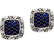 JAI Sterling Silver Pave Sapphire Croco Texture Stud Earrings - J350407