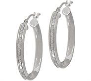 Italian Gold 1 Oval Glitter Hoop Earrings, 14K Gold - J351307