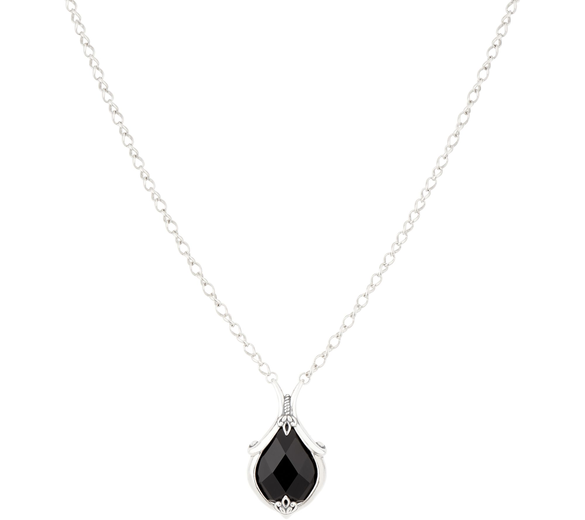Carolyn Pollack Sterling Silver Faceted Onyx Necklace - J352607