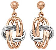 14K Gold Two-tone Knotted Dangle Earrings - J374807