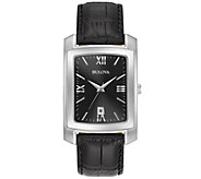 Bulova Mens Classic Black Leather Strap Watch - J375107