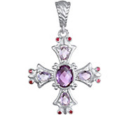 Judith Ripka Sterling & Multi-Gemstone Cross Enhancer - J375607
