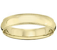 Mens 18K Yellow Gold 5mm Milgrain Wedding Band - J376207