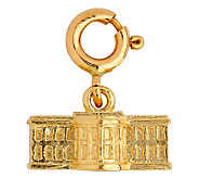 14K Yellow Gold 3-D White House Charm - J108008