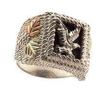 Black Hills Men's Eagle Onyx Ring, Sterling/12K Gold