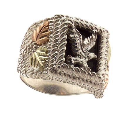 Black Hills Men's Eagle Onyx Ring, Sterling/12K Gold
