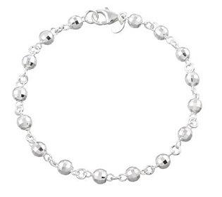 "UltraFine Silver 11"" Disco Bead Station Anklet,9.9g"