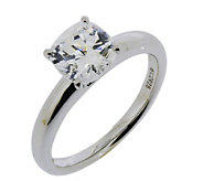 Epiphany Diamonique 2.00 cttw Cushion 100-FacetSolitaire Ring - J112408
