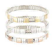 Stainless Steel Set of 3 Glitter Bracelets - J143208