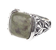 As Is Connemara Marble Sterling Silver Pillow Cut Square Ring - J20908