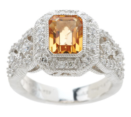 Judith Ripka Sterling 1.40ct Citrine and Diamonique Estate Ring
