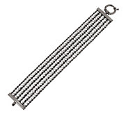 Italian Silver Sterling 6-3/4 Multi-strand Diamonique & Rope Bracelet - J269008