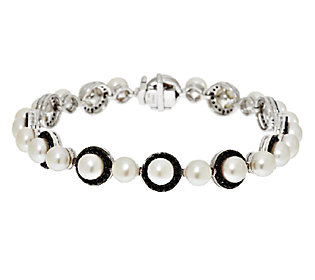 Honora Cultured Pearl 5.5mm & Black Spinel Avg. Sterling Line Bracelet