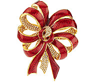 Joan Rivers Pave and Enamel Ribbon Pin - J293608