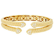 Judith Ripka Sterling & 14K Gold Clad Pave Diamonique Cuff - J294208