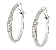 Judith Ripka Sterling Diamonique Pave Hoop Earrings - J295208