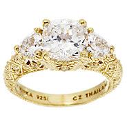 Judith Ripka Sterling 14K Clad Diamonique 3-Stone Ring - J295508