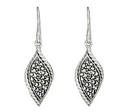 Suspicion Sterling Marcasite Twisted Dangle Earrings - J298508