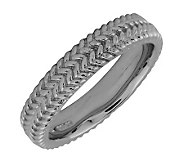 Simply Stacks Sterling Black Rhodium-Plated Zigzag 4.25mm Rin - J299008