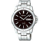 Seiko Mens Stainless Steel Black Dial Analog Watch - J309108