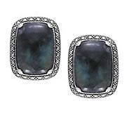 Suspicion Marcasite Labradorite Black Onyx Earrings, Sterl - J310608