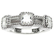 Judith Ripka Sterling Diamonique 3-Stone Band R ing - J313208