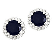 Sterling Sapphire 1/4 ct tw Diamond Halo Stud Earrings - J314108