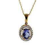 Oval Tanzanite & 1/5 cttw Diamond Pendant, 14KGold - J314908