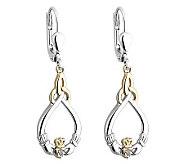 Solvar Sterling & 10K Diamond Accent Claddagh Earrings - J315608