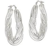 Silver Style Sterling Bold Twisted Oval Hoop Earrings - J317308