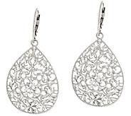 Vicenza Silver Sterling Small Diamond Cut Pear Shape Dangle Earrings - J317708